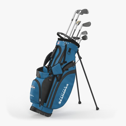 Golf Bag Seahawks with Clubs. Render 2