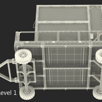 Airport Luggage Trolley Baggage Trailer with Container. Render 28