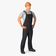 Construction Worker Black Uniform with Hardhat Standing. Preview 2