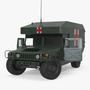 Maxi Ambulance Military Car HMMWV m997 Rigged Green