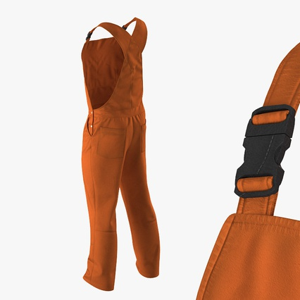 Factory Worker Orange Overalls Standing Pose. Render 15