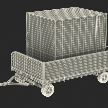 Airport Luggage Trolley with Container. Render 4