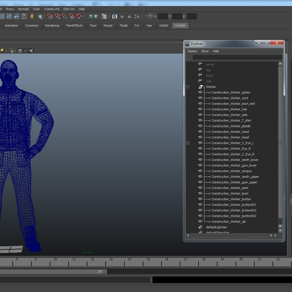 Construction Worker Blue Overalls Standing Pose. Render 23