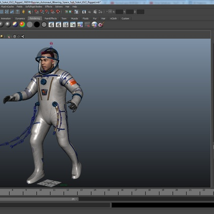 Russian Astronaut Wearing Space Suit Sokol KV2 Rigged for Maya. Render 49