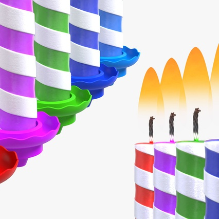 Birthday Candles with Flame Set. Render 8