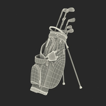 Golf Bag Seahawks with Clubs. Render 4