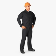 Worker Black Uniform with Hardhat Standing Pose. Preview 2