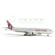 Jet Airliner Airbus A330-300 Qatar Rigged. Preview 49