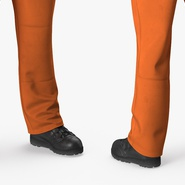 Factory Worker Orange Overalls Standing Pose. Preview 12