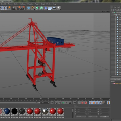 Port Container Crane Red with Container. Render 43