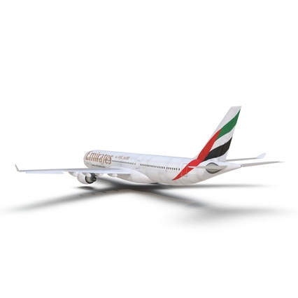 Jet Airliner Airbus A330-300 Emirates Rigged. Render 21