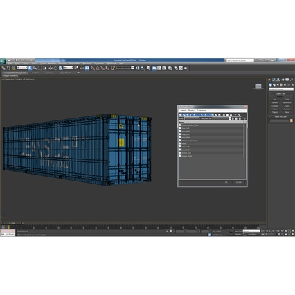 40 ft High Cube Container Blue 2. Render 35