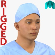 Male Surgeon Asian Rigged with Blood 2 for Maya