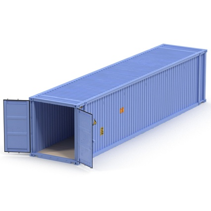 45 ft High Cube Container Blue. Render 5
