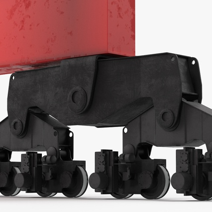 Port Container Crane Red with Container. Render 34