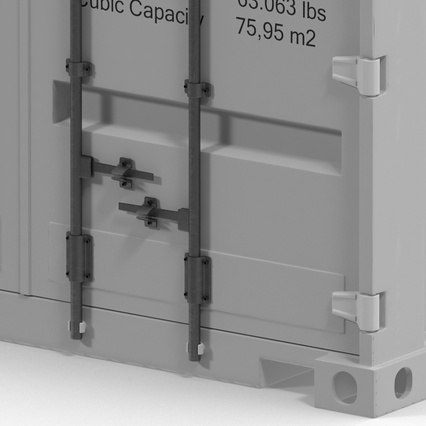 40 ft High Cube Container White. Render 23