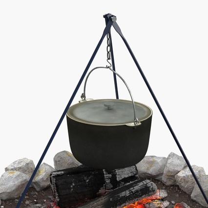 Campfire with Tripod and Cooking Pot. Render 10