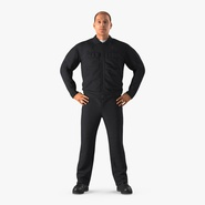 Worker Black Uniform Standing Pose