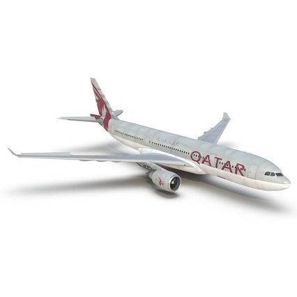 Jet Airliner Airbus A330-200 Qatar. Render 20