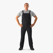 Construction Worker Black Uniform Standing Pose