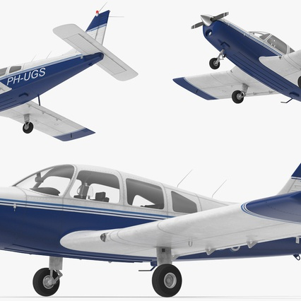 Piper PA-28-161 Cherokee Rigged. Render 10