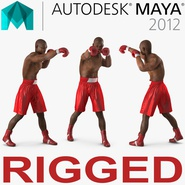 African American Boxer Red Suit 2 Rigged for Maya