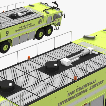 Oshkosh Striker 4500 Aircraft Rescue and Firefighting Vehicle Rigged. Render 17