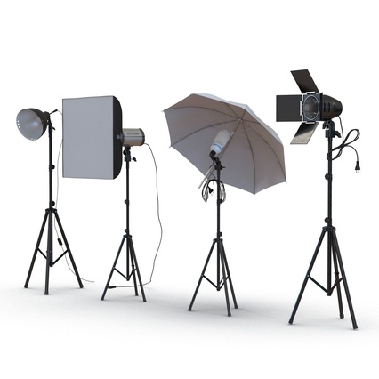 Photo Studio Lamps Collection. Render 8