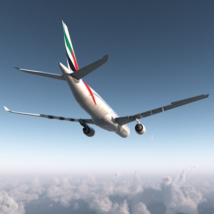 Jet Airliner Airbus A330-300 Emirates Rigged. Render 13