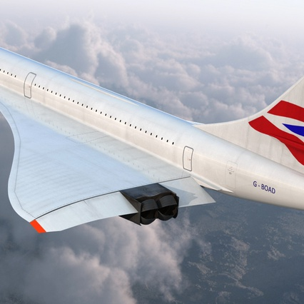Concorde Supersonic Passenger Jet Airliner British Airways Rigged. Render 8