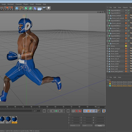 African American Boxer Rigged for Cinema 4D. Render 24