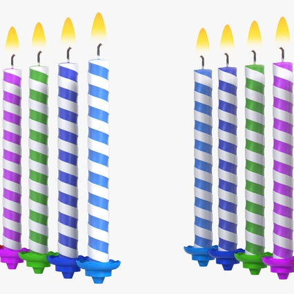 Birthday Candles with Flame Set. Render 9