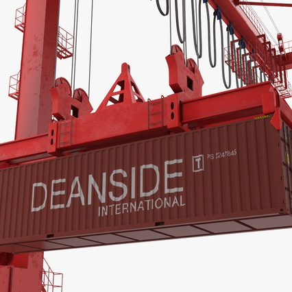 Port Container Crane Red with Container. Render 32
