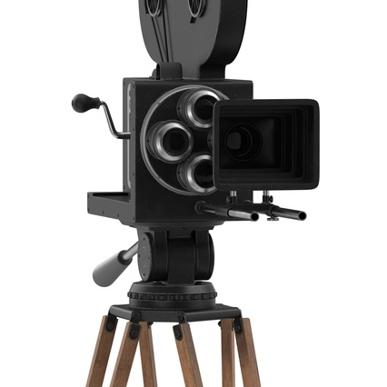 Vintage Video Camera and Tripod. Render 18