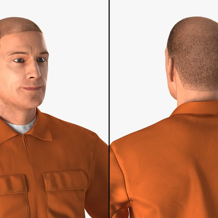 Factory Worker Orange Overalls Standing Pose. Render 10