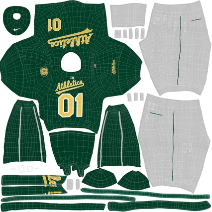 Baseball Player Outfit Athletics 3. Render 31
