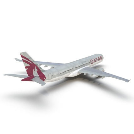 Jet Airliner Airbus A330-300 Qatar Rigged. Render 24