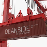 Port Container Crane Red with Container. Preview 32