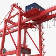 Port Container Crane Red with Container. Preview 14