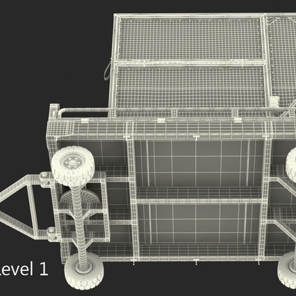 Airport Transport Trailer Low Bed Platform with Container Rigged. Render 28