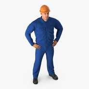 Construction Worker Blue Overalls with Hardhat Standing Pose