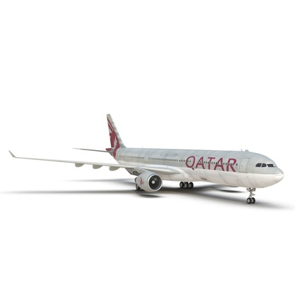 Jet Airliner Airbus A330-300 Qatar Rigged. Render 34