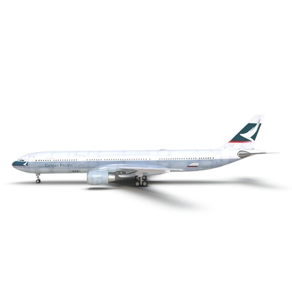 Jet Airliner Airbus A330-300 Cathay Pacific Rigged. Render 10