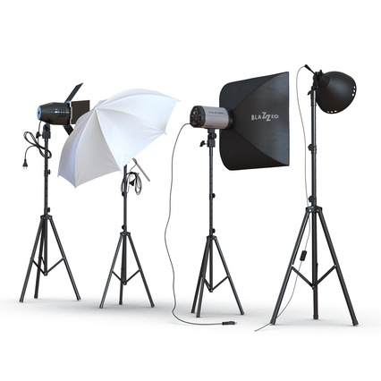 Photo Studio Lamps Collection. Render 12