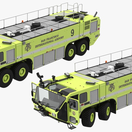 Oshkosh Striker 4500 Aircraft Rescue and Firefighting Vehicle Rigged. Render 12
