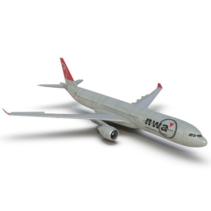 Jet Airliner Airbus A330-300 Northwest Airlines Rigged. Render 26
