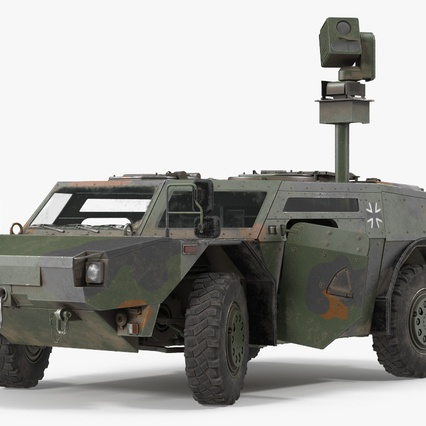 Fennek German Reconnaissance Vehicle Rigged. Render 2