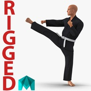 Karate Fighter Black Suit Rigged for Maya