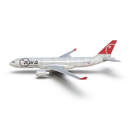 Jet Airliner Airbus A330-200 Northwest Airlines Rigged. Render 17