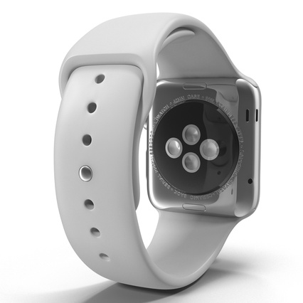Apple Watch Sport Band White Fluoroelastomer 2. Render 15